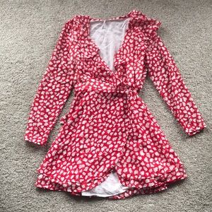 Free People red and white polka dot wrap dress